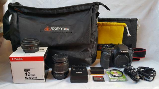 ขาย Canon EOS 7D สภาพดี อดีตประกันศูนย์ฯ บวก เลนส์ CANON EF-S 18-55mm 1 3.5 - 5.6 IS และ  เลนส์ CANON EF 40mm f 2.8 STM พร้อมอุปกรณ์อีกมากมาย