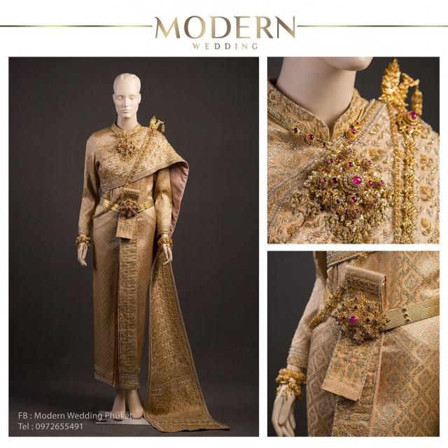 เช่าชุดแต่งงานภูเก็ต ชุดไทยศิวาลัยสีทองงดงาม